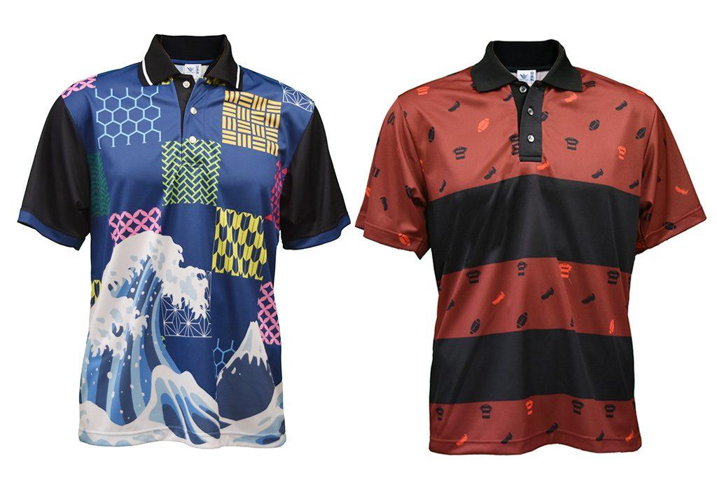 ラグビー、和柄全面デザインプリントポロシャツ(昇華プリントポロシャツ)画像